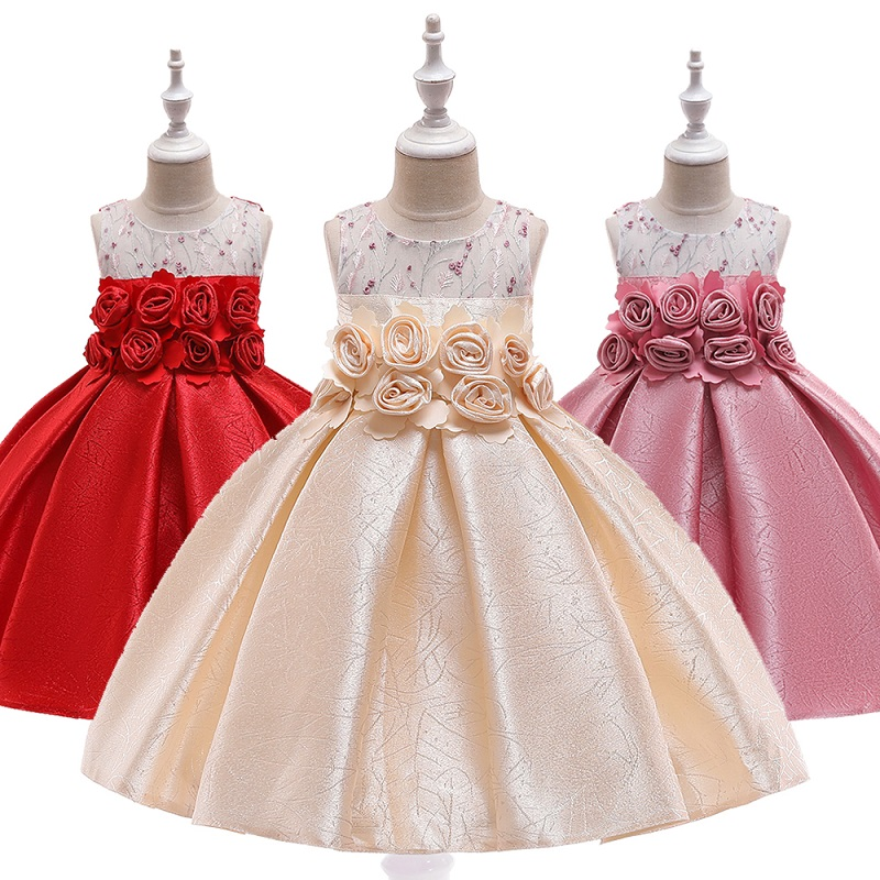 New Pure Cotton   Girls   Wedding Party High-end Silk Satin Party   Dresses     Girls   Birthday Party Performance   Dresses   vestido