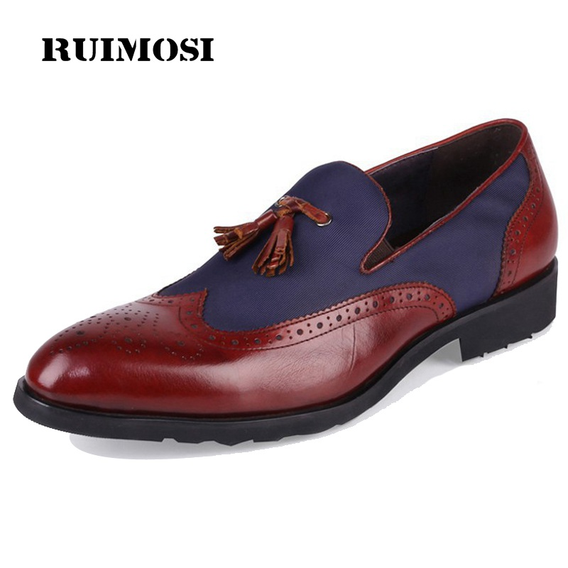 RUIMOSI British Style Wing Tip Brogue Man Formal Dress Shoes Male Genuine Leather Loafers Round Toe Men's Tassels Flats TH61