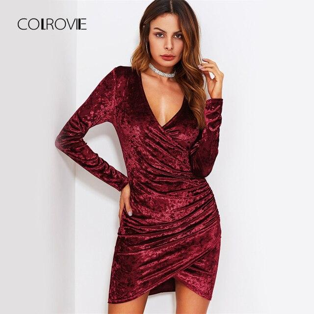 7ceb352e9f1 COLROVIE Burgundy Ruched Overlap Surplice Crushed Velvet Party Dress Women  Spring Fashion V Neck Elegant Mini Club Dress