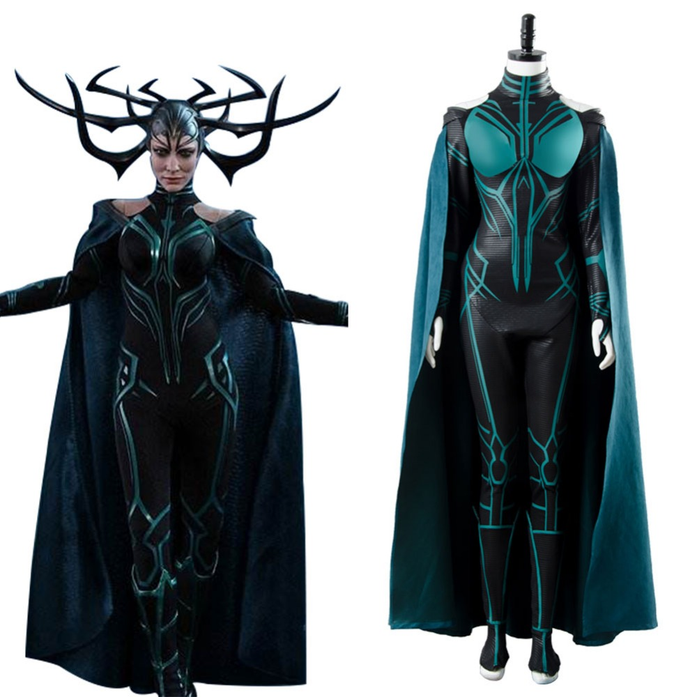 Thor 3 Ragnarok Goddess Of Death Hela Cosplay Outfit Costume Jumpsuits With Robe Sets Halloween Carnival Costume Outfit