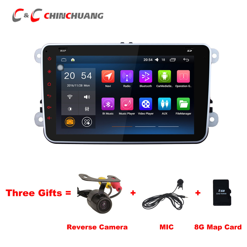 Free Three Gifts ! 1024x600 Android 6.0 Car Radio DVD Player for VW Passat B6 CC Polo Golf Skoda Amark Bora EOS with Navigation