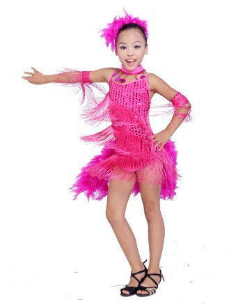 DB23553 fringe feather sequin latin dance dress-12