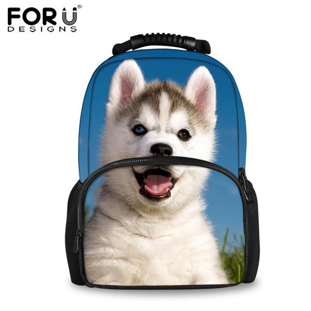 2a64dccaa7 FORUDESIGNS Funny Animal Husky 3D Printing Backpacks for Teenager Girls  Travel Laptop Women Felt Backpack School