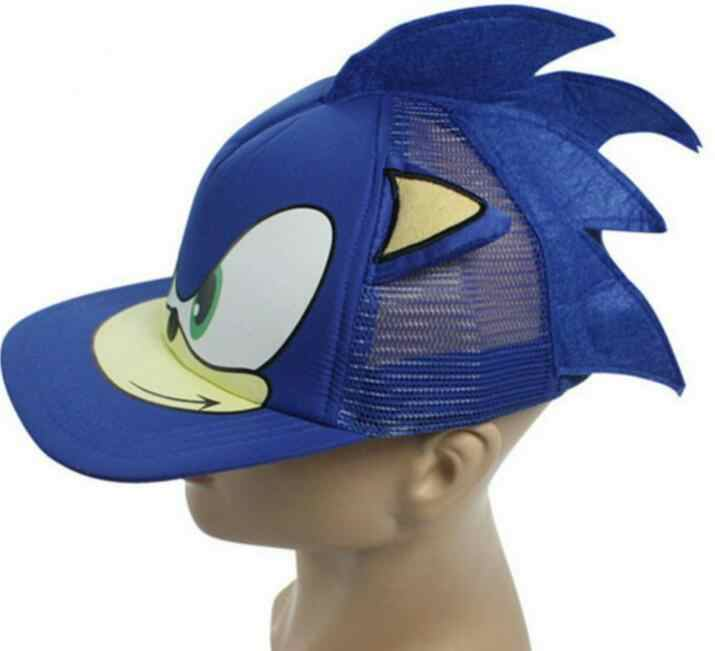 MIAOGE sonic caps New 3D 1pcs blue Cute Boy Sonic The Hedgehog Cartoon Youth Adjustable Baseball Hat Cap Blue For Boys party gifts