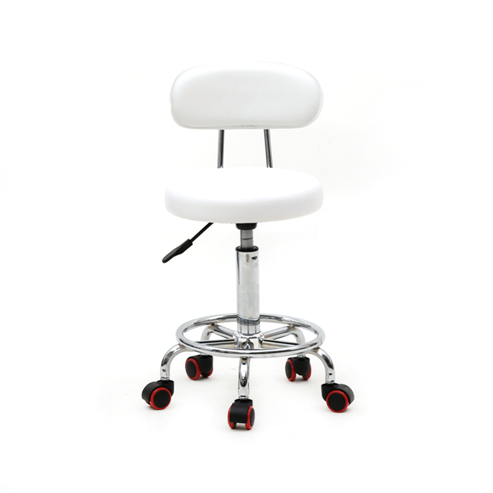 Saddle Stool Rolling Chair Hydraulic Swivel Salon Stool Chair Round Shape Adjustable Tattoo Massage Stool with Back US Stock
