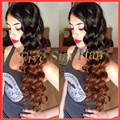 2015 Fashion Ombre lace wig two tone #1b/#30 lace front wig Brazilian human hair & loose wave Virgin Brazilain full lace wig