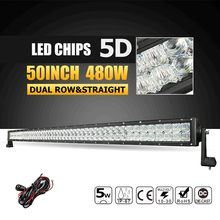 "Oslamp 50"" 480W 5D LED Light Bar Offroad Led Bar Work Light Driving Lamp Combo Beam for Trucks Pickup Boat SUV 4X4 4WD 12v 24v"