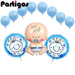 11 шт мальчик девочка Baby Shower/1st День рождения Фольга и латексные шары для дома День рождения Декор детские подарки игрушка поставки
