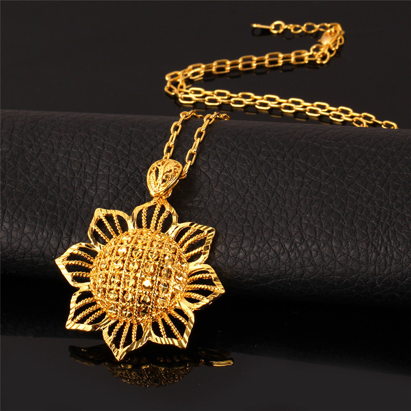 Gold big pendant necklace images gold big pendant necklace images kpop sun flower pendant necklace new blommy charms yellow gold jpg aloadofball Images