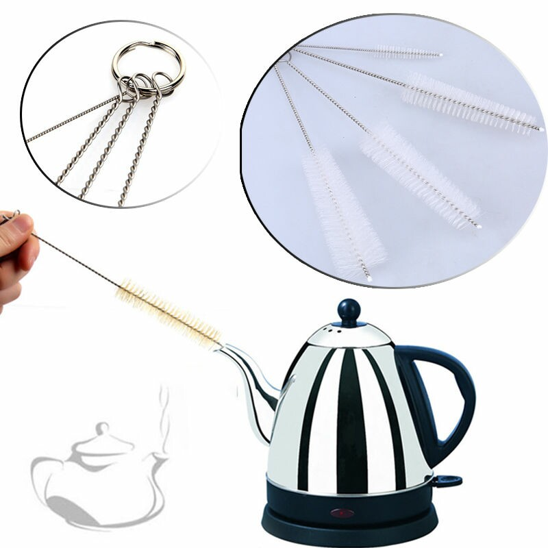 WHISM 4PCS/Set Household Bottle Tube Brushes Stainless Steel Nylon Cleaning Brush Set Teapot Cleaner Home Kitchen Cleaning Tool