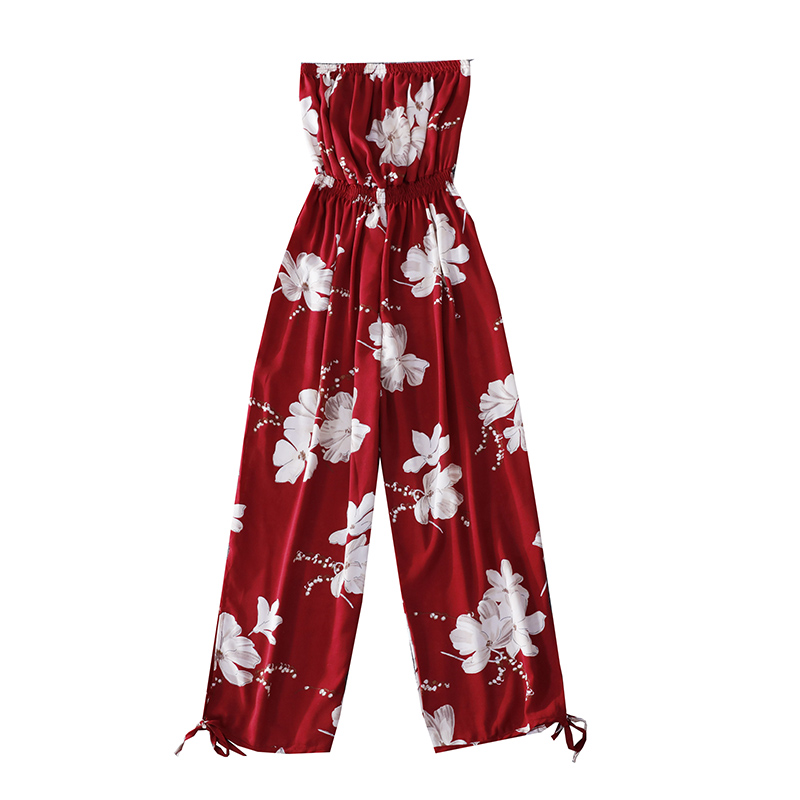 2019 Summer Floral Print Strapless Soft Women Rompers High Waist Side Slit Stretchy Cuff Women Casual Beach Jumpsuits 5