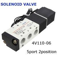 1Pcs 12V DC 2 5W 4V110 06 5port 2position Electronic Solenoid Air Valve BSP Pilot Operated