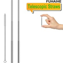 FUHAIHE New Portable Stainless Steel Telescopic Drinking Straw Travel Reusable with Brush