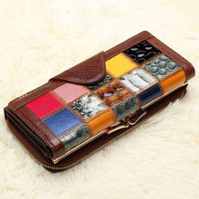 Cowhide Genuine Leather Wallets Punk Style Patchwork Women's Clutch Bag Multifunction Leisure Lady Wallet Plaid Coin Purse Bags