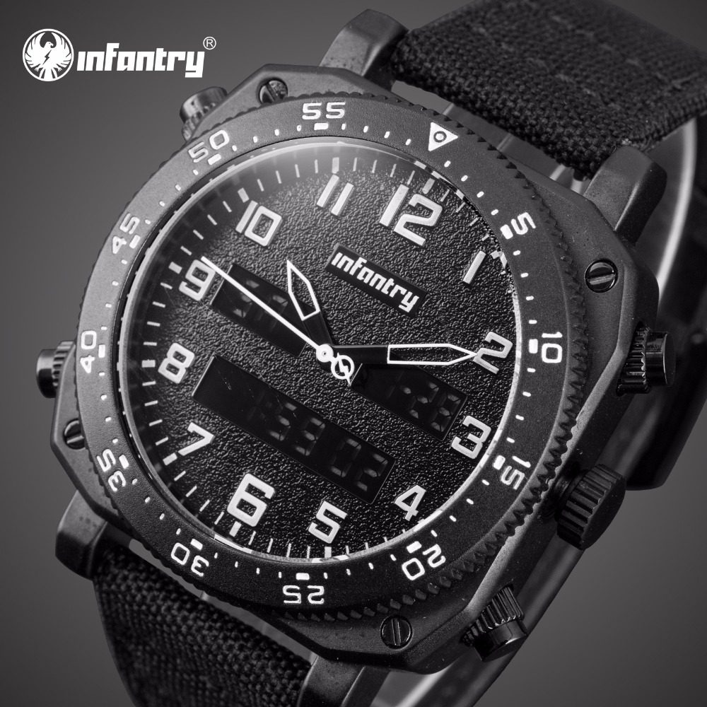 cd744738ed8 INFANTARIA Mens Relógios Top Marca de Luxo Relógio Analógico Digital Homens  Relógios Piloto Militar Tático para