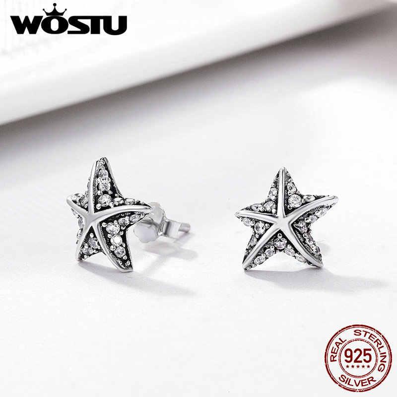 c19329c8f ... WOSTU Hot Sale 925 Sterling Silver Tropical Starfish Stud Earrings For  Women Fine S925 Jewelry Best ...