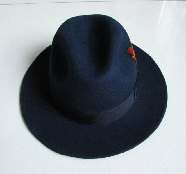 14f74ef89f18c Brand new Navy Blue Trilby Hat 100% wool felt fedora hat original Men  gentleman jazz Panama hat Unisex fashion hot selling
