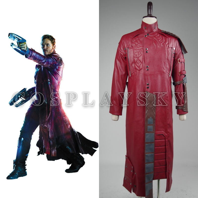Guardians of The Galaxy Peter Quill Star-Lord Cosplay Costume Red long Man Coat Halloween Costumes for Adult Costume