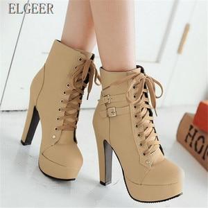 Image 2 - Новые женские ботильоны на платформе и высоком каблуке, женская обувь на шнуровке, женские короткие ботинки с пряжкой, Повседневная Дамская обувь