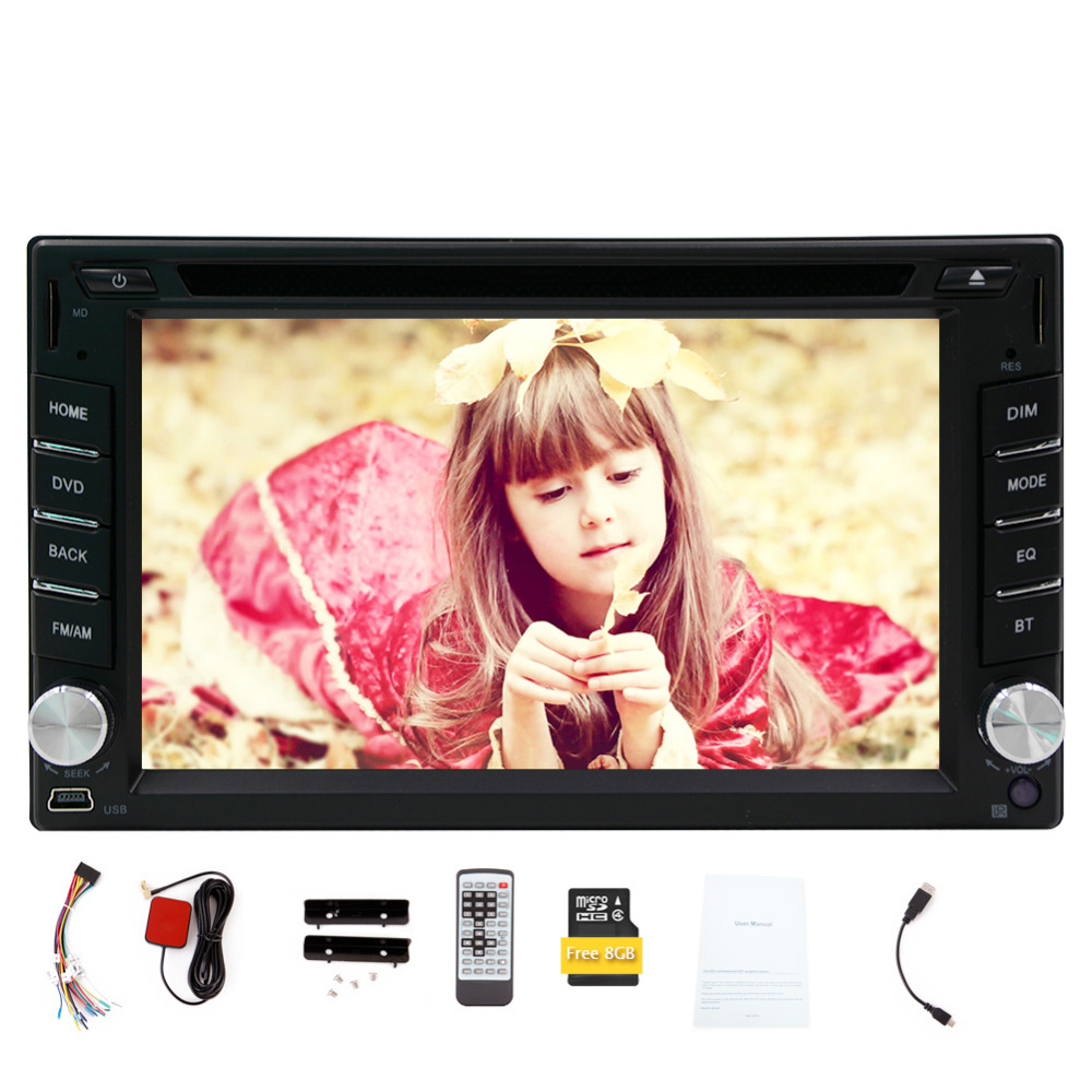 6.2'' Double Din In Dash HD Touch Screen Car DVD Player FM/AM Radio Car GPS Navigatio Bluetooth Radio Navigation Car Stereo joyous j 2611mx 7 touch screen double din car dvd player w gps ipod bluetooth fm am radio rds