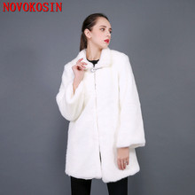 S-3XL Thick Winter Warm Open Stitch Wide-waisted White Plush Coat Long Faux Mink Fur 2018 Women Fox Cardigan