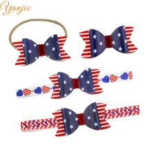 Girls 3.5   American Flag Hair Bow Hair Clips For 2018 Fourth of July Nylon 54d4d6d7aa74