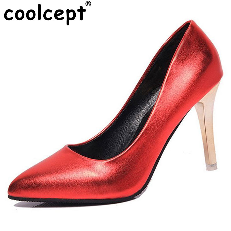 Coolcept Woman Stilettos High Heels Patent Leather Pumps Pointed Toe Thin Heels Women Party Shoes Ladies Shoes Size 34-39 Z00218