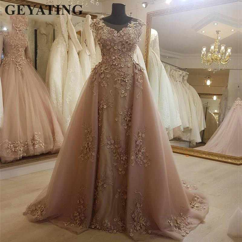 13c7a1d073e ... Elegant Dirty Pink Lace Mermaid Dubai Prom Dresses with Detachable  Train Lace 3D Flower Long Arabic ...