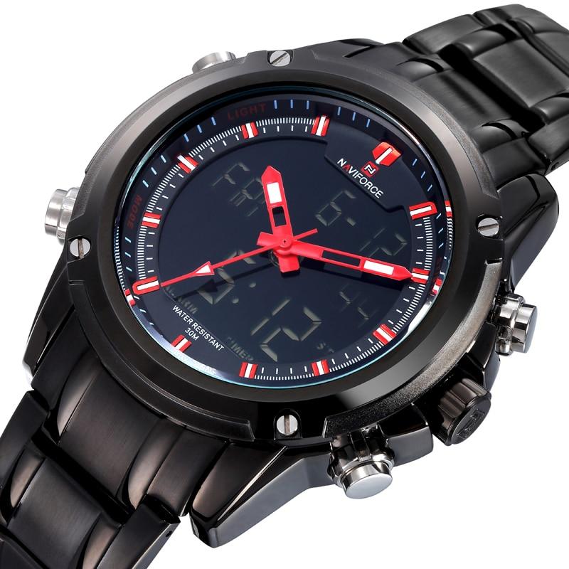 Watches font b men b font NAVIFORCE brand Sport Full Steel Digital LED watch reloj hombre
