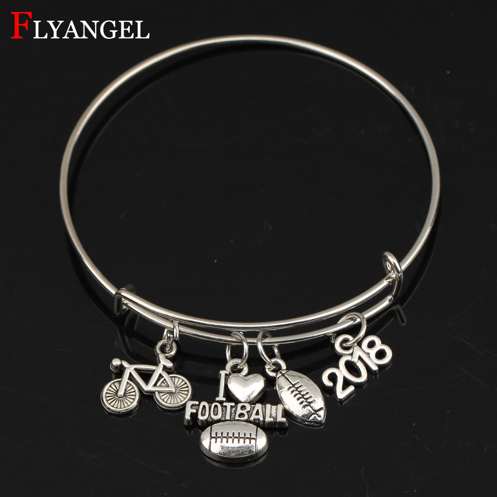 Motivation Exercise Fitness Jewelry I Love Football Bicycle Rugby 2018 Pendant Expandable Adjustable Men Women Bangle Alloy Gift