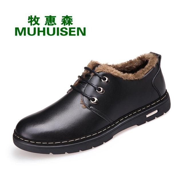 Sıcak tutmak Kış Erkek Botları Yüksek Kaliteli Bölünmüş Deri günlük erkek ayakkabısı Peluş Moda çizmeler boyutu 38 ~ 44 erkek botları