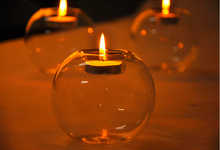 1PC Pure handmade heat-resistant glass candlestick European crystal round Candle holder home decoration decor JY 1208