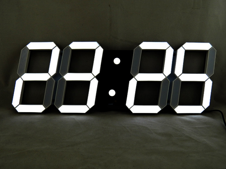 Black Creative Remote Control Large LED Digital Wall Clock