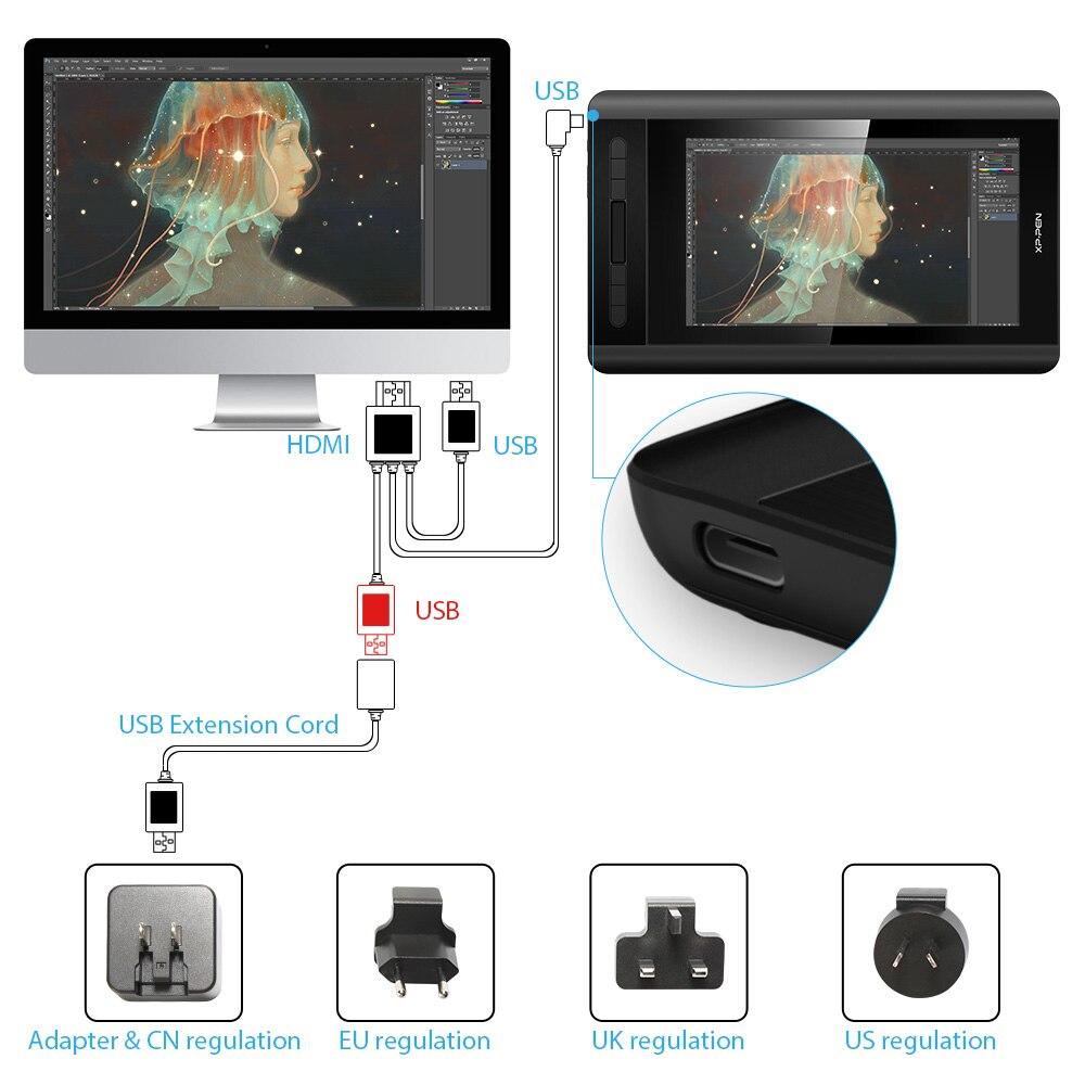 XP-PEN Artist 12 Tablette Graphique avec Ecran HD 11,6 Pouces Moniteur Dessin avec Stylet Passif 8192 Niveaux Pression - Version 2019 - 6