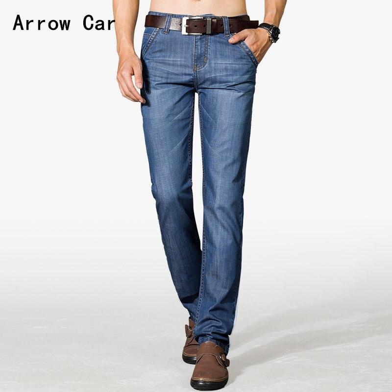 2018 printemps été nouveau Stretch Jeans hommes Slim droit affaires hommes Jeans Section mince lavé hommes Jeans pantalon grande taille 44