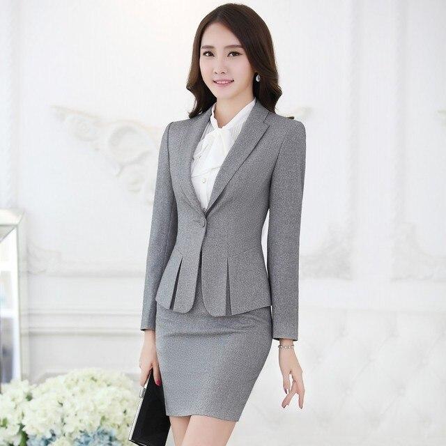 ab9e861eb9 Primavera otoño moda mujer gris Blazers mujeres abrigos Chaquetas elegantes  de trabajo ropa Oficina uniforme estilos