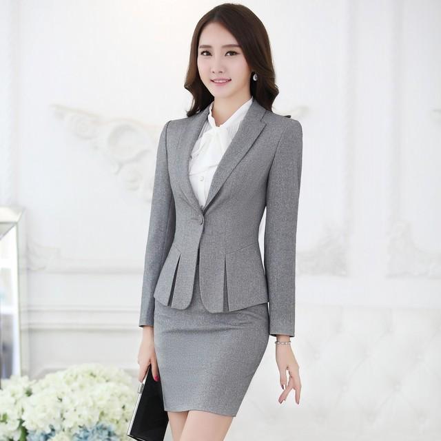 cffac17f37df Spring Autumn Fashion Female Gray Blazers Women Outerwear Jackets Elegant Ladies  Work Wear Clothes Office Uniform Styles OL