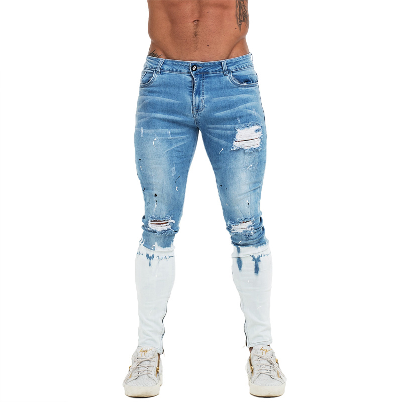 GINGTTO Mens Skinny Jeans Ankle Zipper Ripped Skinny Jeans For Men Distressed Super Stretch Faded Blue Dropshipping EU Size Zm53