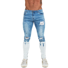 купить GINGTTO Mens Skinny Jeans Ankle Zipper Ripped Skinny Jeans for Men Distressed Super Stretch Faded Blue Dropshipping EU Size zm53 дешево