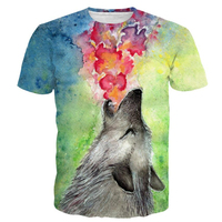 PLstar Cosmos Oil Painting Wolves Printed T Shirt Men Women Tie Dye Art Jazz Wolf 3D