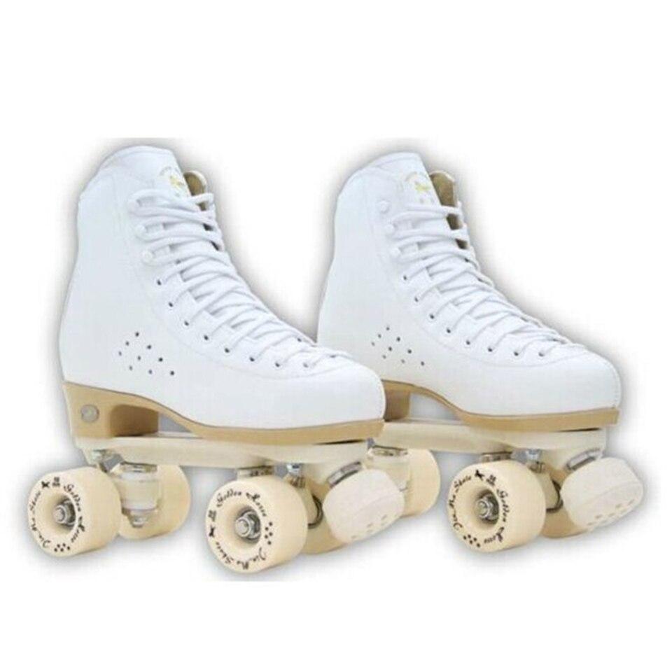 Image 2 - Original Golden Horse Professional Roller Skates two Line Shoes Double Row Skating PU Wheel Cowhide Leather Plastic Steel PlateSkate Shoes   -