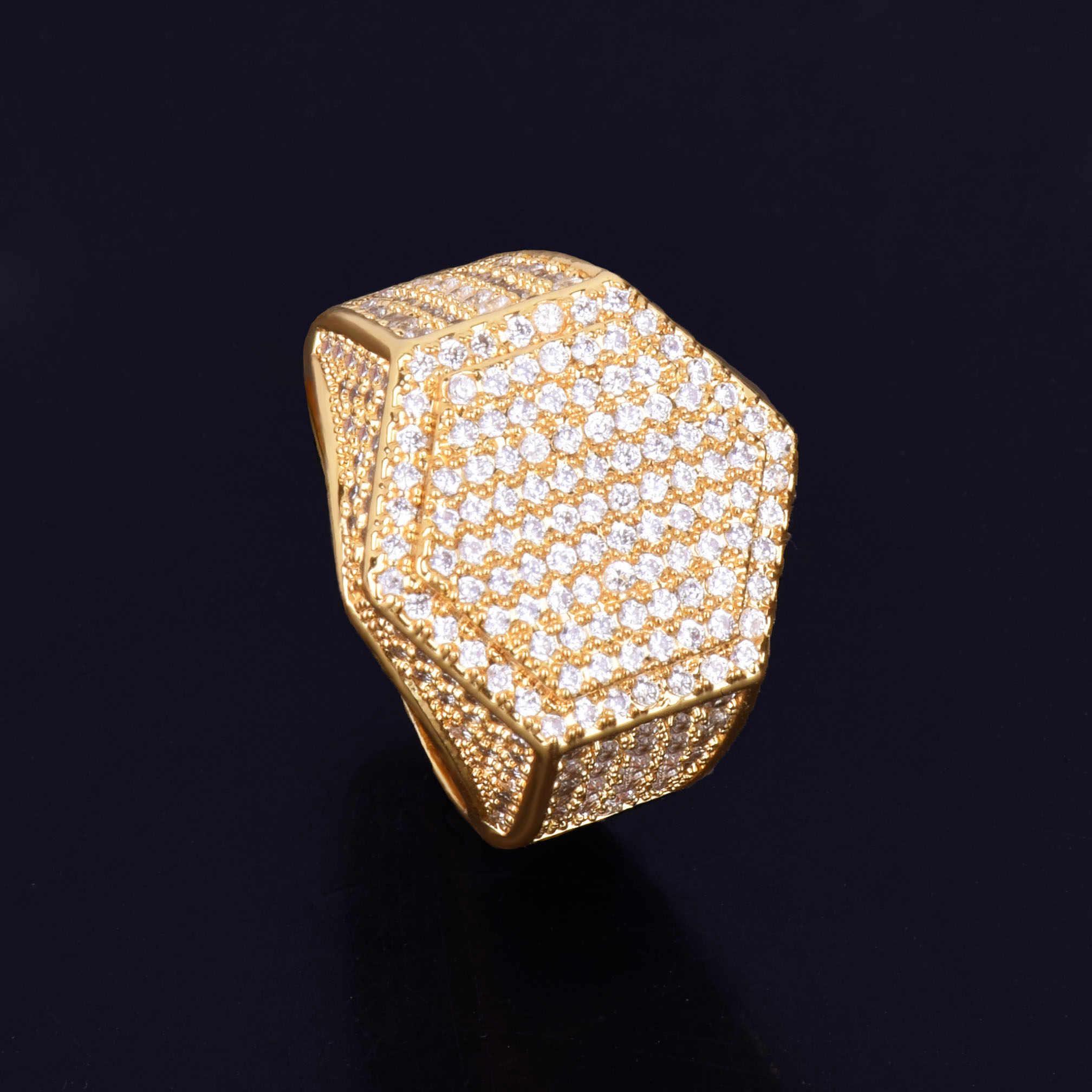 Gold แหวนผู้ชาย 18 K ทองแดง Charm AAA Cubic Zircon แฟชั่นเครื่องประดับ Hip Hop แหวนผู้ชาย