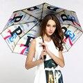 Formosa tafetán UPF 50 + fibra de vidrio a prueba de viento 5 veces revestimiento negro anti-UV sombrilla plegable de bolsillo compacto carta impresión paraguas
