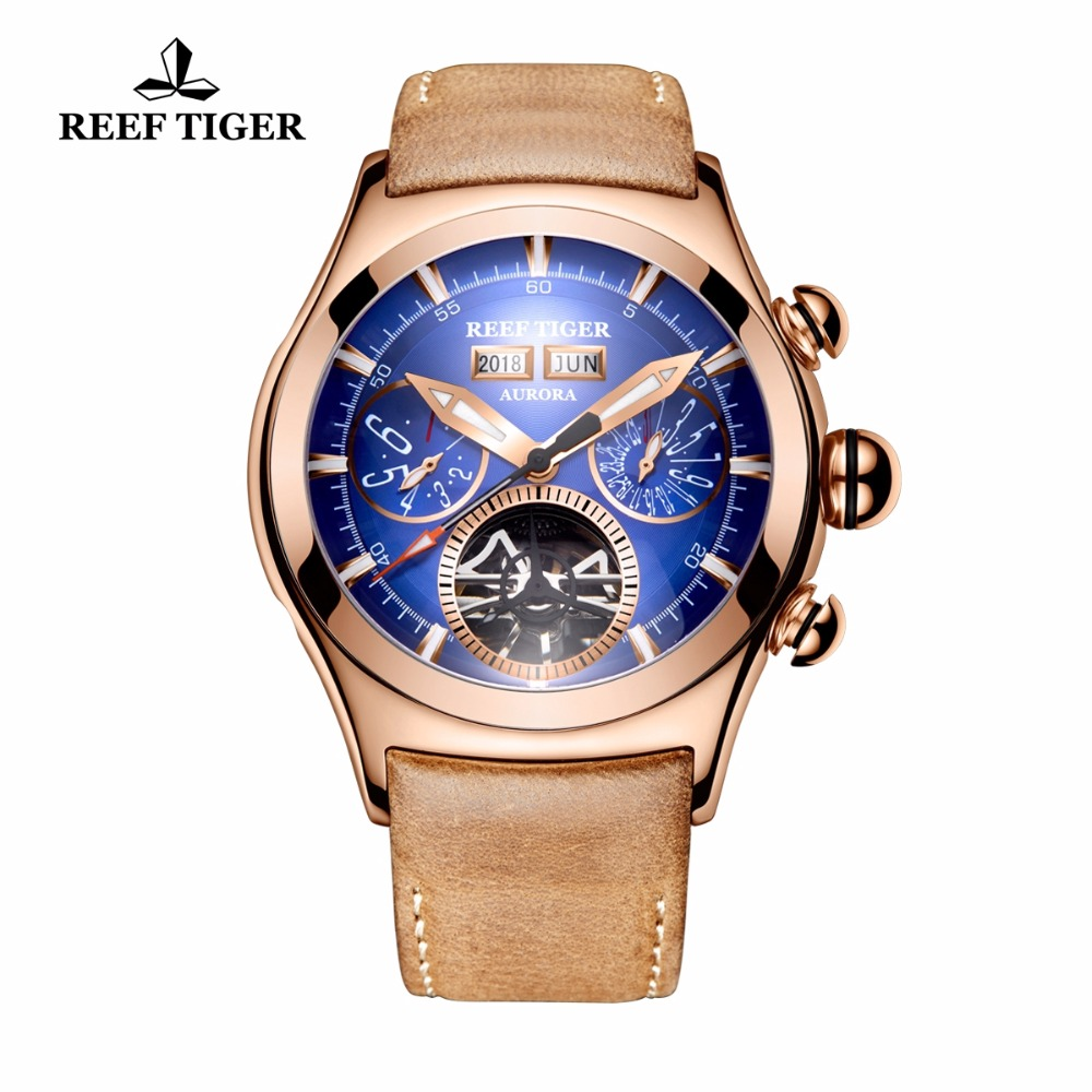 Reef Tiger/RT Luxury Mens Watches Rose Gold Automatic Watches Tourbillon Brown Leather Strap Blue Dial Watches RGA7503