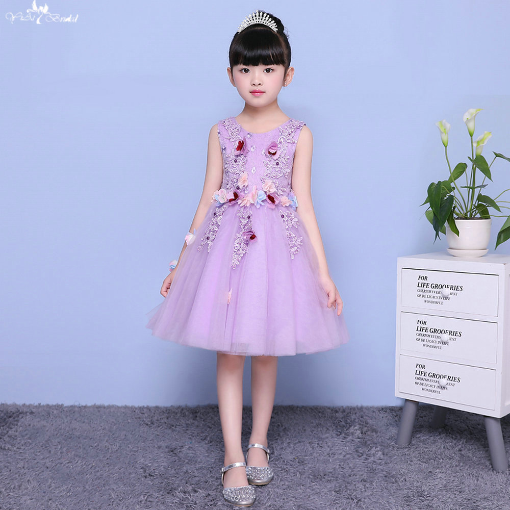 LZC003   Flower     Girl   Purple   Dress   3D   Flower     Girl     Dress   Elegant   Dress