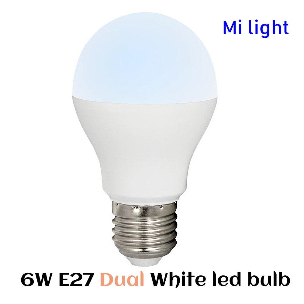 BSOD Milight LED Bulb 6W Dual White Light Lamp FUT017 RF2.4GHz Wireless Dimmable CW WW AC86-265V Spotlight Smart Lamp dimmable mi light 2 4g gu10 5w color temperature adjustable dual white cw ww led bulb lamp ac85 265v 110v 220v wifi compatible