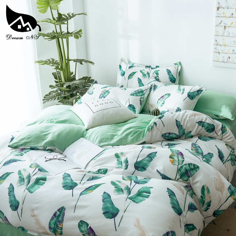 Dream NS Tropical Rainforest Banana Leaf Design Washed Cotton Bedding Set For Nordic Simple Cover Pillowcase Home Bedroom Living