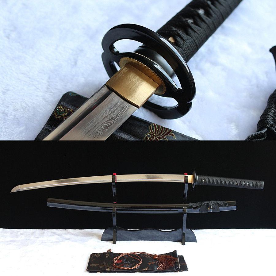 handgeschmiedete Damaststahl japanische Samurai echte Schwert Katana scharfe Klinge.
