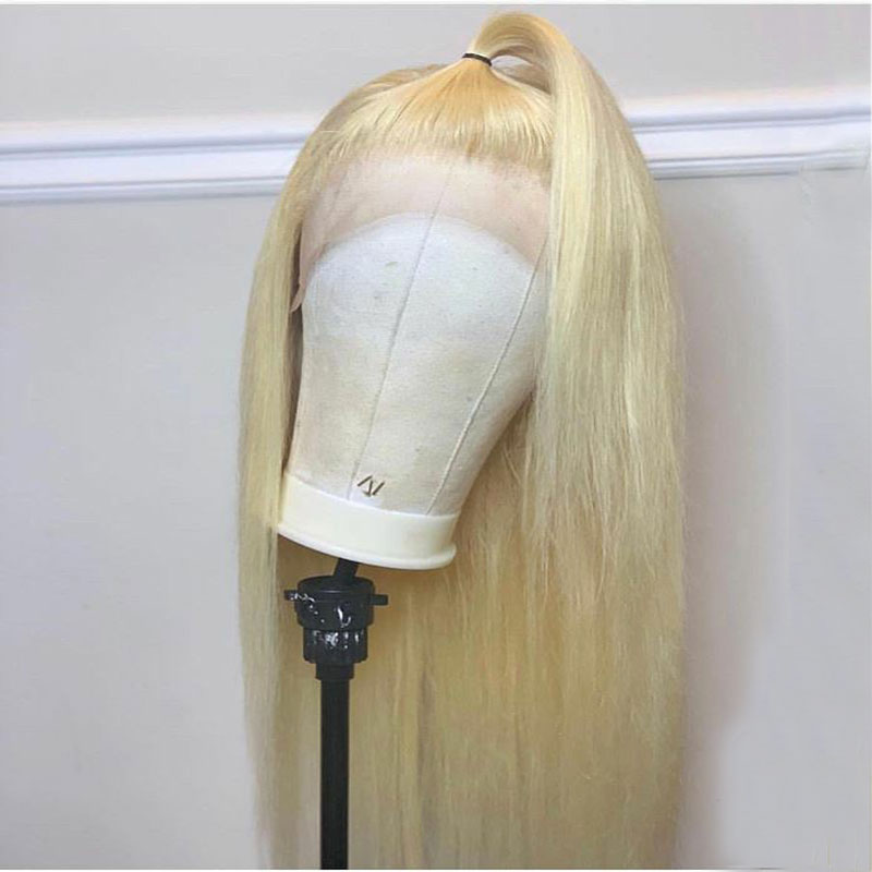 Preplucked Blonde 613 Colored Invisible Lace Front Human Hair Wigs Long Straight Brazilian Remy Transparent Lace