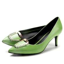 Green White Cowhide Pointy Toe Shallow Mouth 7 CM Thin High Heels Women Pumps Fashion Beautiful Banquet Shoes With Square Buckle